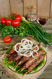 Grilled kebabs on wooden skewers and fresh vegetables Royalty Free Stock Photos