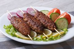 Grilled kebabs on wooden skewers and fresh vegetables Royalty Free Stock Photo