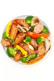 Grilled kielbasa and vegetables Royalty Free Stock Photo