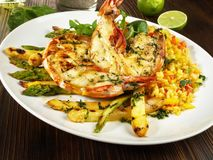 Grilled King Prawn - Tiger Prawn with Rice and Asparagus royalty free stock image