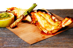 Grilled King Prawn Tikka with roasted asparagus Stock Photo