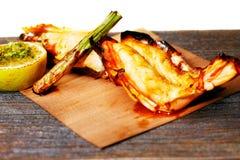 Grilled King Prawn Tikka With Roasted Asparagus Stock Photo