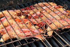 Grilled king prawns Stock Images