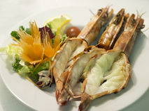 Grilled king prawns Royalty Free Stock Photo