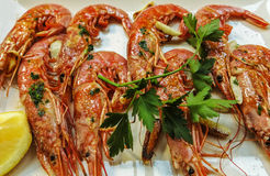 Grilled King Prawns Royalty Free Stock Photography