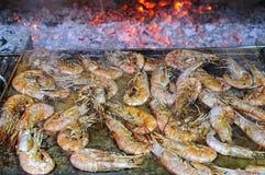 Grilled king prawns Royalty Free Stock Images