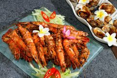 Grilled king prawns and shells Stock Photos