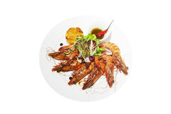Grilled king prawns Royalty Free Stock Photo