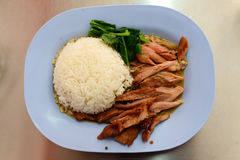 grilled knuckle of pork on rice Stock Photos
