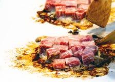 Grilled Kobe Beef Cube, Kobe beef teppanyaki Steak. Background stock photography