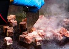 Grilled Kobe Beef Cube, Kobe beef teppanyaki Steak. Background royalty free stock photos