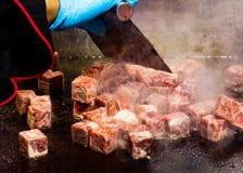 Grilled Kobe Beef Cube, Kobe beef teppanyaki Steak. Background stock photos