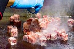 Grilled Kobe Beef Cube, Kobe beef teppanyaki Steak. Background stock image
