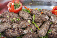 Grilled kofta meat at an oriental restaurant buffet Stock Photography