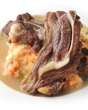 Grilled lamb. On mashed potatoes served on plate Royalty Free Stock Photography