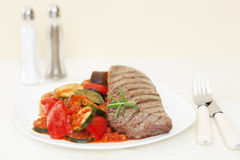 Grilled Lamb Backstrap with Ratatouille Royalty Free Stock Photo