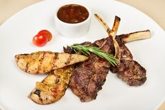 Grilled Lamb on the bone Stock Images
