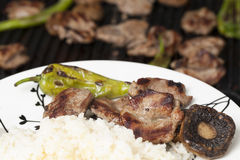 Grilled lamb chop with garniture in plate. Newly grilled meat and garnish are ready to serve with rice Stock Photography