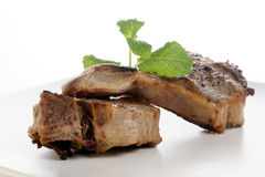 Grilled lamb chop on a plate Royalty Free Stock Photography