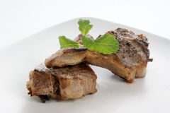 Grilled lamb chop on a plate Royalty Free Stock Photo