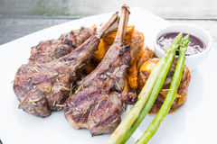 Grilled lamb chop steak Stock Image