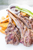 Grilled lamb chop steak Royalty Free Stock Images
