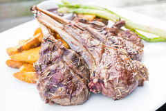 Grilled lamb chop steak Royalty Free Stock Image