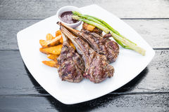 Grilled lamb chop steak Royalty Free Stock Photography
