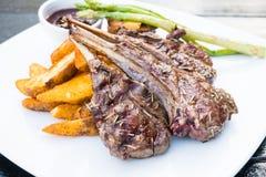 Grilled lamb chop steak Stock Photo