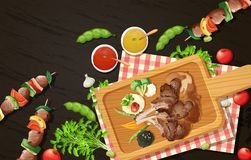 Grilled Lamb Chops And Barbecue On Wooden Board Royalty Free Stock Images