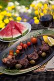 Grilled Lamb Chops In Garden Royalty Free Stock Photography