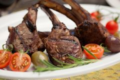 Grilled Lamb Chops. Served with cherry tomatoes and olives. Watermelon and wine. Outside dinner in a garden Royalty Free Stock Photo