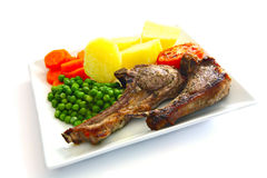 Grilled lamb chops meal Stock Images