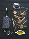 Grilled lamb chops. Rack of Lamb with garlic Royalty Free Stock Photo