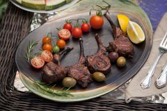 Grilled Lamb Chops In Garden Royalty Free Stock Image