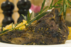 Grilled lamb cutlet with rosemary Stock Photo