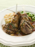 Grilled Lamb Cutlets Chasseur sauce Pomme Anna Stock Photo
