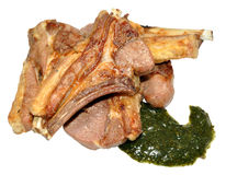 Grilled Lamb Cutlets With Mint Sauce Stock Photo