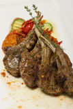 Grilled lamb loin and vegetable ratatouille. Royalty Free Stock Photos