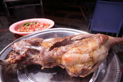 Grilled lamb meat with tomato salad and ugali, Royalty Free Stock Photo