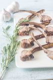 Grilled lamb rib chops on the plate Royalty Free Stock Image