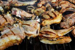 Grilled Lamb Ribs on BBQ Grate, XXXL Royalty Free Stock Image