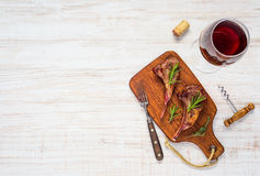 Grilled Lamb Ribs with Glass of Red Wine and Copy Space Royalty Free Stock Image