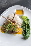 Grilled Lamb steak rice Stock Images