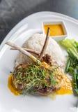 Grilled Lamb steak rice Royalty Free Stock Image