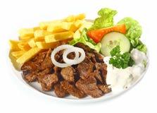Grilled lean beef nuggets, called Dönerteller or Doner Royalty Free Stock Images