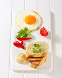 Grilled Leberkase sandwich with mustard and fried egg Stock Image