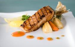 Grilled lemon salmon fish royalty free stock photo