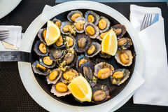 Grilled Limpets Served With Lemon Royalty Free Stock Images