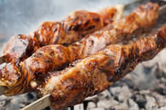 Grilled liver kebab Stock Photography